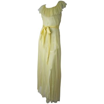 Vintage 1930s Yellow Mesh Gown