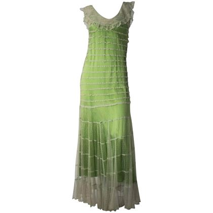 30s Green Dot Mesh Gown and Slip