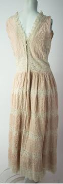 Vintage 1970s Pin Tuck and Lace Pale Pink  Dress