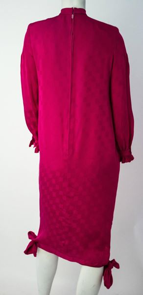 80s Nina Ricci Magenta Silk Jacquard Dress