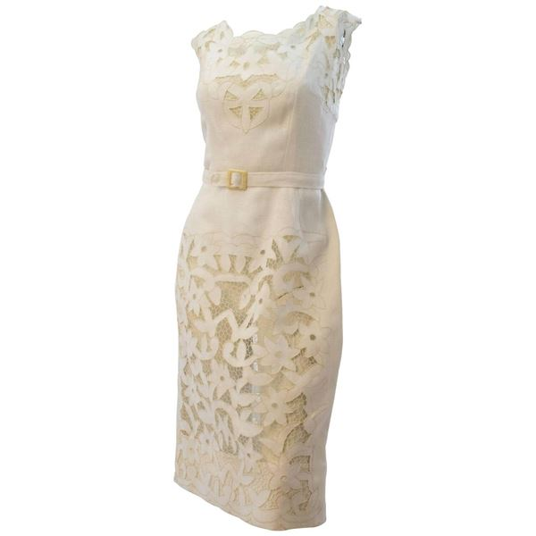 fd0bc558864 50s White Linen and Lace Dress