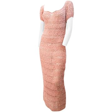 Vintage 1930s Knotted Ribbon Work Pink Dress
