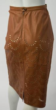 Valentino Brown Cut-Out Calfskin Leather Skirt