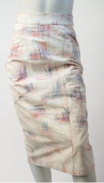 Vintage 1980s Nude Abstract Print Leather Pencil Skirt