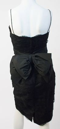 50s Black Lace Tiered Dress with Back Bow