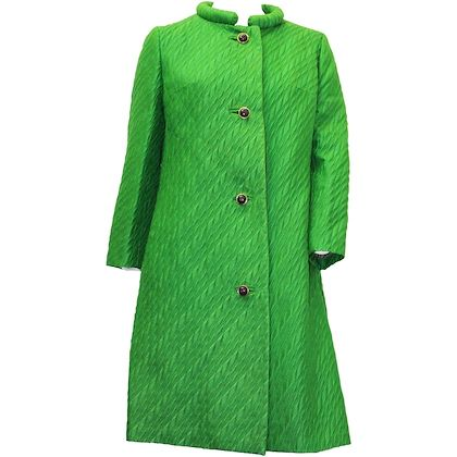 60s Irene Sargent Brocade Green Coat