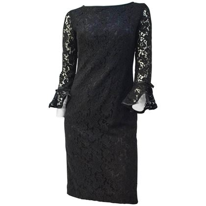 Vintage 1960s Black Lace Cocktail Dress