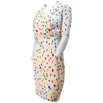 80s Louis Féraud Flower Petal Print Dress