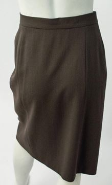 Vintage 1980s Wool Crepe Draped Brown Skirt
