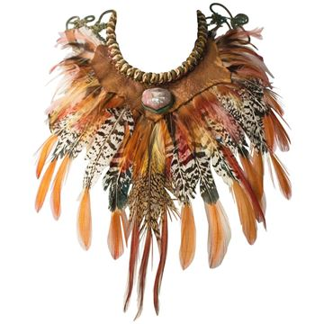 Alex and Lee 1970s Feather Rope Collar Multicolour Vintage Necklace