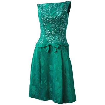 Vintage 1960s Sequined Jacquard Green Midi Dress