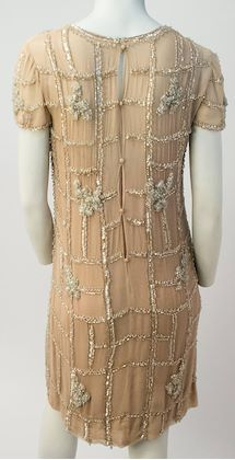 60s Malcom Starr Beaded Nude Cocktail Dress