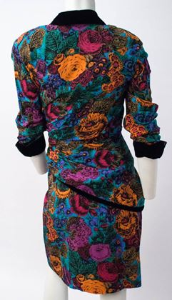 80s-oscar-de-la-renta-bouquet-dress-with-black-velvet-trim