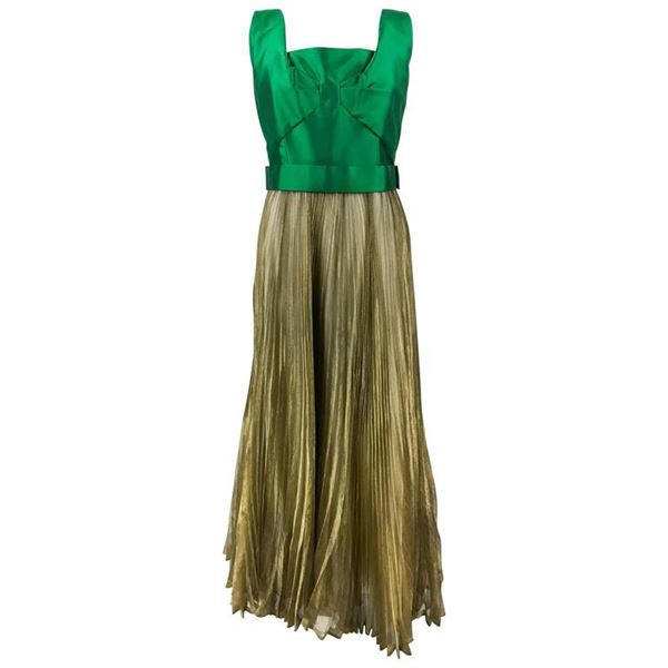 Lanvin Haute Couture Green Gazar and Gold Lamé Pleated Gown - Early 1960's
