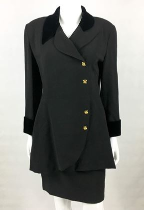 Chanel 1990s  Wool Velvet Collar & Cuffs black vintage skirt suit