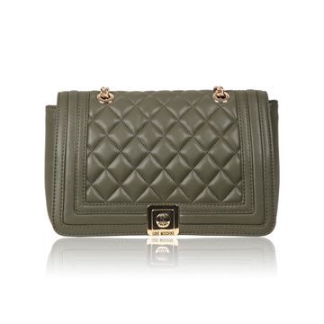 Love Moschino Quilted Military Green Vintage Shoulder Bag