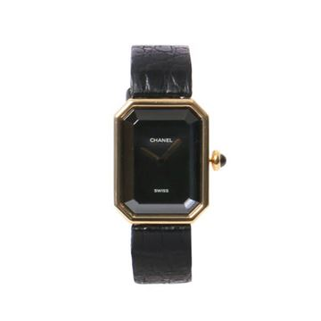 Chanel Black Premiere Crocodile Belt Watch