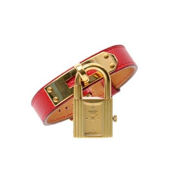 Hermes 1990s Red Kelly Vermilion Watch