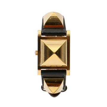 Hermes 1990s Black Vintage Medor Watch