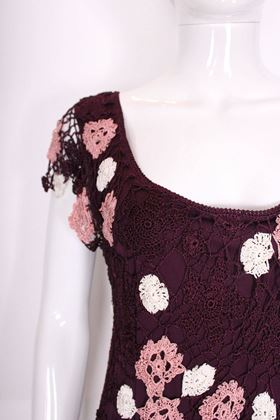 Vintage 1970s Crochet Purple Maxi Dress