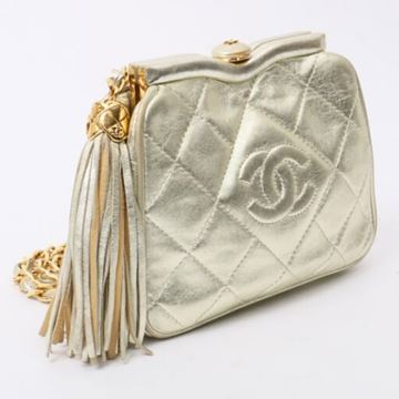 Chanel 1990s Quilted Champagne Gold Leather 2 Way Bag