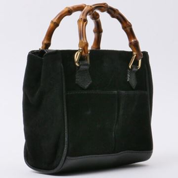 Gucci Black Suede Bamboo Handle Mini 2 Way Bag