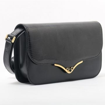 Gucci Point Flap Black Lizard Mini Shoulder Bag