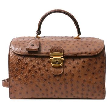 Gucci Brown Ostrich Sherry Line 2 Way Bag