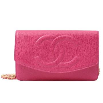 Chanel 1990s Caviar Leather CC Logo Rose Pink Wallet on Chain
