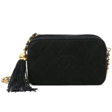 Chanel Quilted Suede Black Mini Camera Case Bag