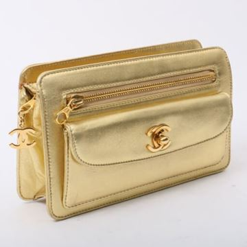 Chanel Metallic Gold Leather Outer Flap Clutch Bag