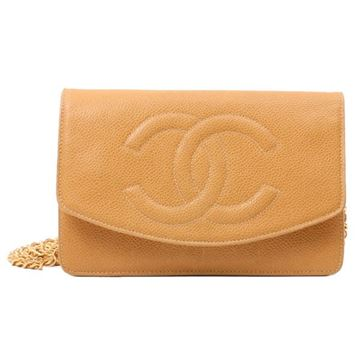 Chanel Caviar Leather Beige Wallet on Chain