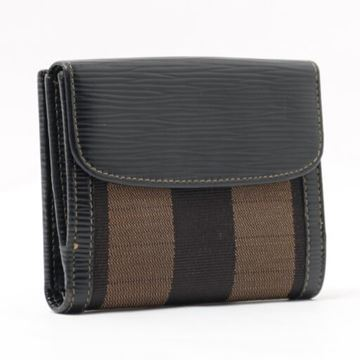 Fendi Pequin Canvas Folding Brown Wallet