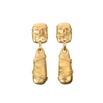Chanel 1990s Ribbon Wrapped Drop Gold Tone Earrings