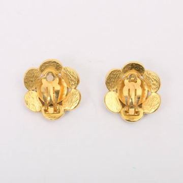 Chanel 1990s Flower Shape Brown Glass Stone Earrings
