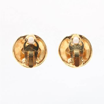 Chanel 1990s Round CC Mark Gold Tone Earrings