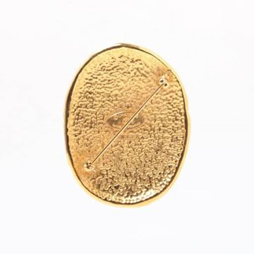 Chanel Oval Etched CC Mark Gold Tone Brooch