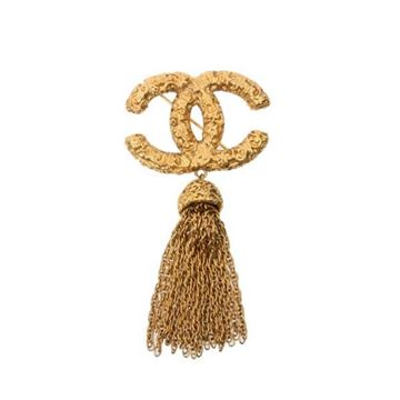 Chanel 1990s Textured CC and Tassel Gold Tone Brooch