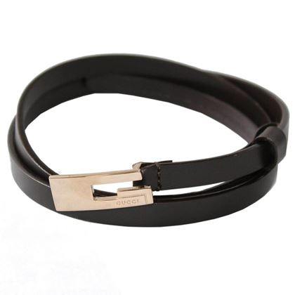 Gucci Narrow Leather G Logo Buckle Brown Vintage Belt