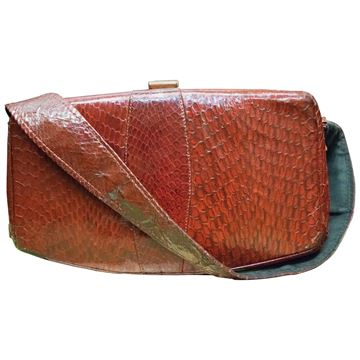 Vintage 1930s Cobra Skin Red Handbag