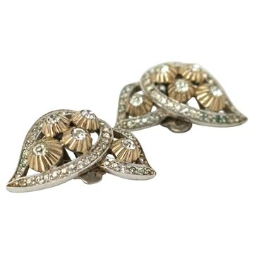 Jomaz 1960s Rhinestone Paisley Leaf Gold Tone Vintage Clip Earrings