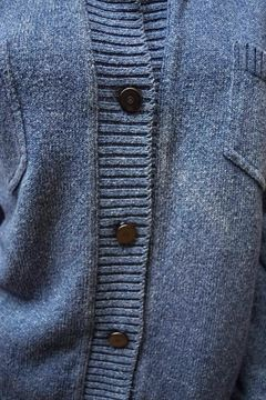 Chanel 1990s Knit Button Up Blue Vintage Cardigan