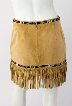 Bluemarine 1990s Folies Suede Beaded Mini Fringe Brown Vintage Skirt