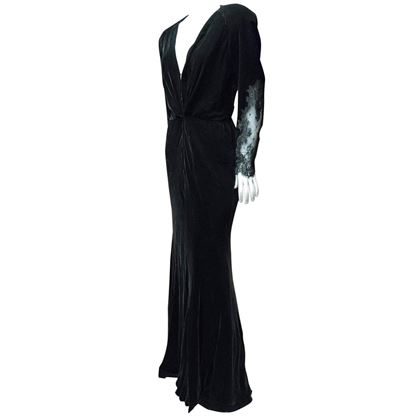 1980s Bergdorf Goodman Black Velvet Evening Dress
