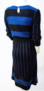Vintage 1970s Black and Blue Stripe Sweater Knitted Dress