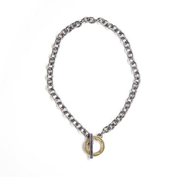 Gucci GG Monogram and Silver Tone Chain Hoop and Bar Vintage Necklace