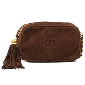 Chanel Quilted Brown Suede Camera Case Bag