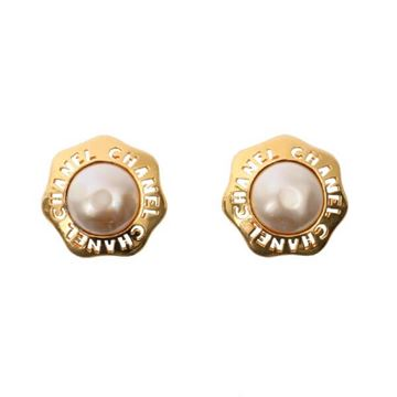 Chanel Septagon Faux Pearl Gold Tone Earrings