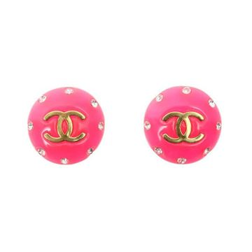 Chanel 1990s Big Round Rhinestone Edge Neon Pink Earrings