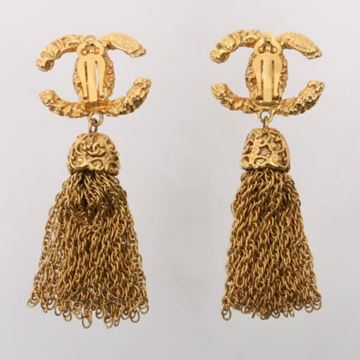 Chanel 1990s Textured CC Logo and Tassel Gold Tone Earrings